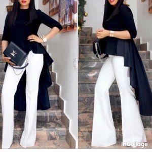 Gracie High low long sleeve shirt top dressy black